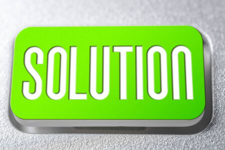 Green Solution Button On A Keyboard, Problem Solving Concept