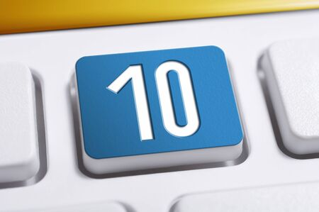 Number 10 Blue Button On A White Keyboard