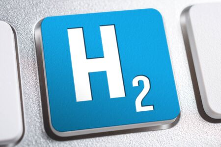 H2 Chemical Formula For Hydrogen On A Keyboard Button, Future Energy Concept Standard-Bild