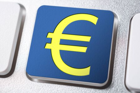 Yellow Euro Currency Sign On A Blue Keyboard Button
