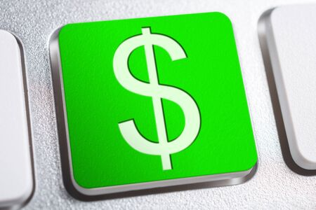 Green Dollar Currency Sign On Keyboard Button Stock fotó