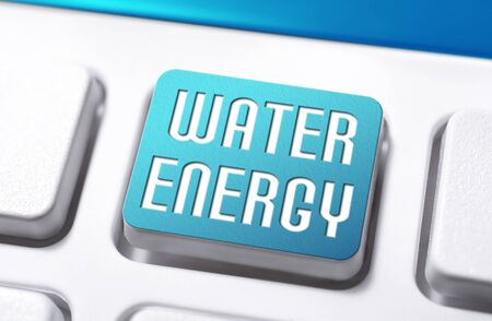 The Words Water Energy On A Blue Keyboard Button, Clean Power Concept Stock Photo