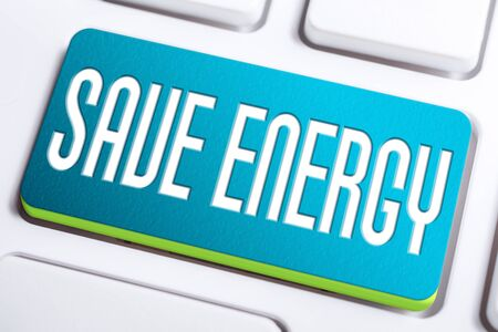 Save Energy Concept With A Blue Save Energy Button On A White Keyboard