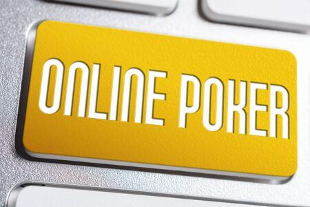 Orange Online Poker Keyboard Button, A Gaming Addiction Concept