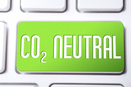 CO2 Neutral On A Green Keyboard Button, Reduce Global Warming Concept