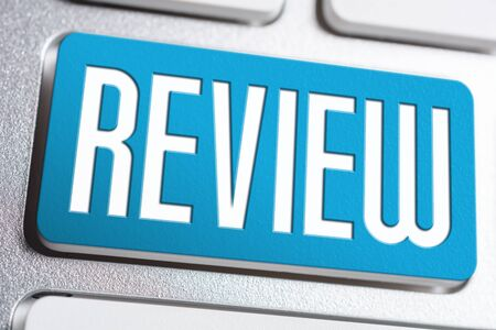 The Word Review On Blue Keyboard Button