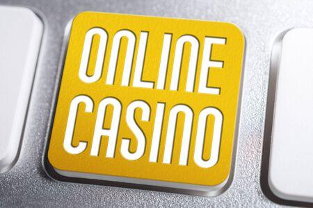 Orange Online Casino Keyboard Button, A Gambling Addiction Concept