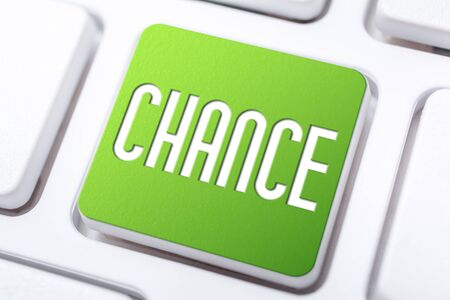 The Word Chance On Green Keyboard Button, Chance For A Better Life Concept Stock Photo