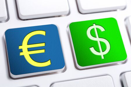 Euro and Dollar Currency Signs On Blue And Green Keyboard Buttons Stock Photo
