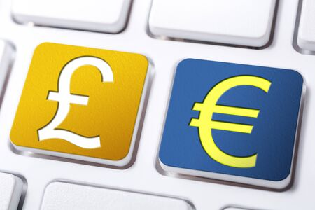British Pound And Euro Currency Signs On Orange And Blue Keyboard Buttons