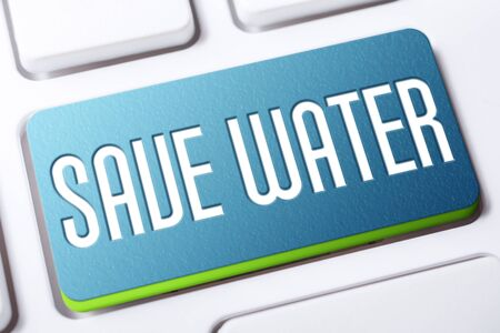 Blue Save Water Button On A White Keyboard, Climate Change Concept
