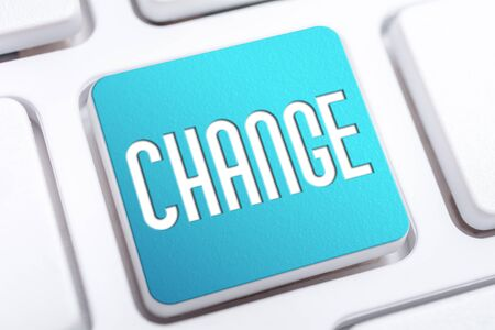 The Word Change On A Blue Keyboard Button, Change Habit And Lifestyle Concept