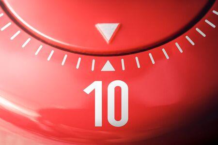 Number 10 On A Flat Red Kitchen Egg Timer