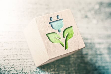 Clean Eco Power Icon On Wooden Block On A Table Stock Photo