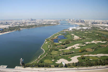 Dubai Creek Golf Course aerial shot.
