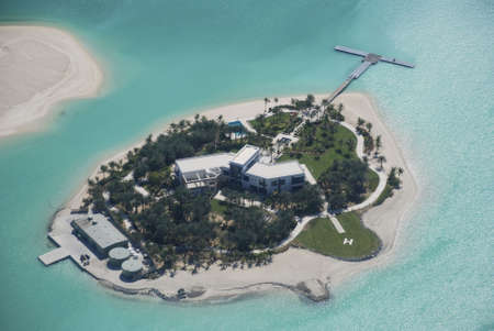 desalination: Dubai world Islands Show Home Stock Photo