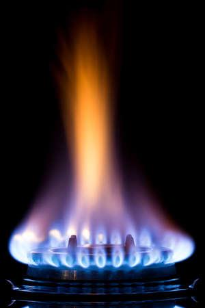 lit: gas burners lit Stock Photo