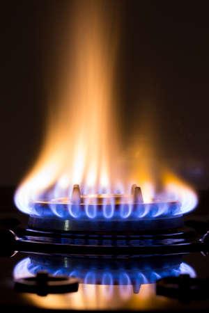 methane: gas burners lit Stock Photo
