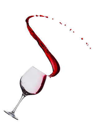 quencher: splash of red wine in a glass on a white background Stock Photo