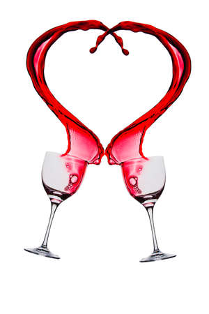 liqueurs: splash of red wine in a glass on a white background Stock Photo