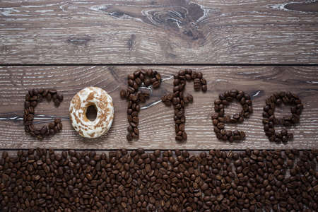 cofe: Word of coffee beans on the table