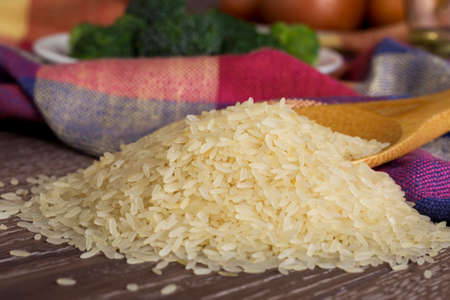 handful: a handful of rice on the table