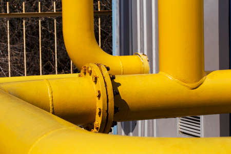 junction pipe: the junction of a yellow gas pipe