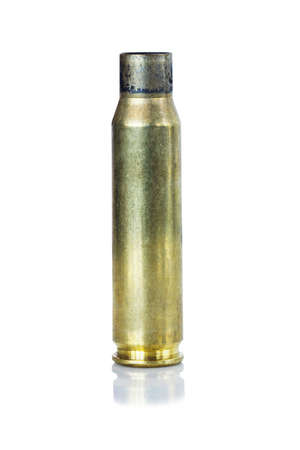 criminology: the cartridge cases on a white background Stock Photo