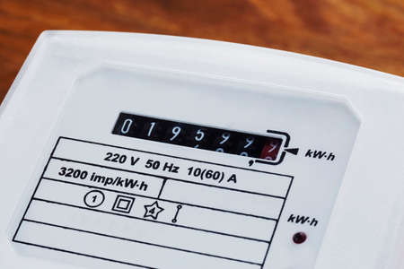 electric meter: the numbers on the a electric meter Stock Photo