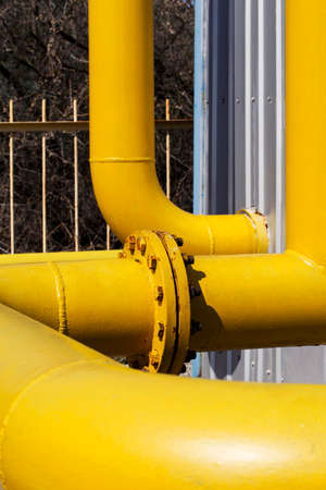 junction: the junction of a yellow gas pipe
