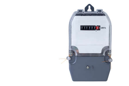 contador electrico: el medidor de electricidad sobre un fondo blanco