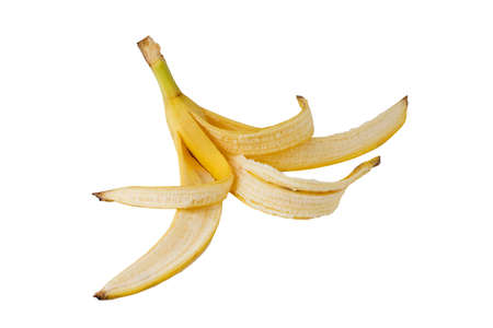 the skin of banana on a white background Stock Photo