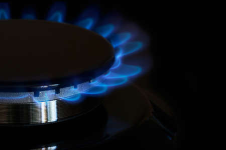gas burner: gas burner is lit on the kitchen