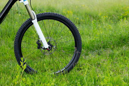 the front wheel of a mountain bike
