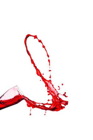 흰색 배경에 잔에서 레드 와인의 스플래시 스톡 콘텐츠