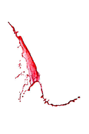 splash of red wine on a white background