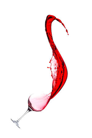 splash of red wine from goblet on a white background