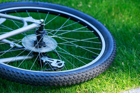 spokes: Front wheel of a mountain bike Stock Photo