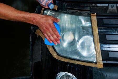 The preparing a black car for polishing