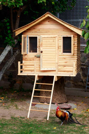 small wooden house on handmade hemp Banque d'images - 120031005