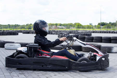 Racing on the sports karting track