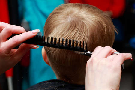The little boy in the barber shop hair cut by a professional Foto de archivo