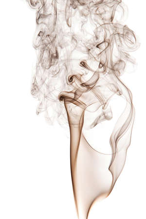 Movement brown smoke on a white background