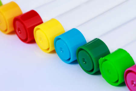 Multi colored felt tip pens on white background Stockfoto