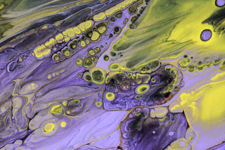 Abstract background of acrylic paint in Violet and yellow tone Stockfoto