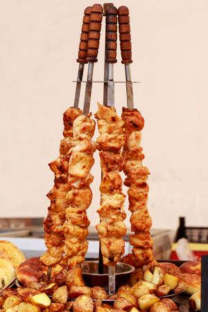 Juicy marinated in spices meat kebab on skewers