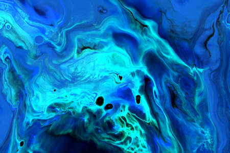 Abstract background of acrylic paint in blue and aquamarine tones