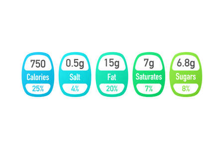 Nutrition facts package labels with calories and ingredient information.