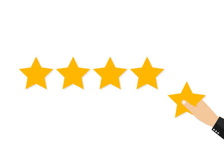 Star rating. Holding a gold star, to give five. Feedback concept. Evaluation system. Positive review. Vector stock illustration flat design. Isolated on white background. Quality work. Reklamní fotografie - 110178176