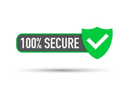 100 sichere Grunge-Vektor-Symbol. Abzeichen oder Schaltfläche für Handelswebsite. Vektorgrafik auf Lager.